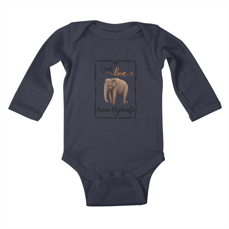 Troy Paulo - I Just Love Asian Elephants Kids Baby Longsleeve Bodysuit by Trunks & Leaves' Artist Shop