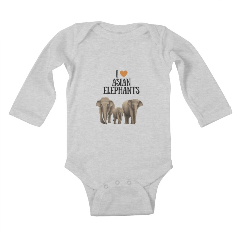 Troy Paulo - I Love Asian Elephants Kids Baby Longsleeve Bodysuit by Trunks & Leaves' Artist Shop