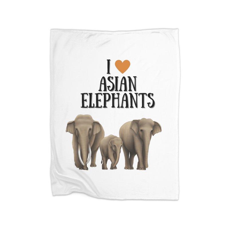 Troy Paulo - I Love Asian Elephants Home Blanket by Trunks & Leaves' Artist Shop