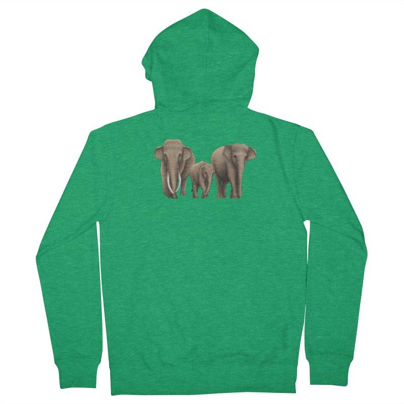 Troy Paulo - Asian Elephant Family Men's Zip-Up Hoody by Trunks & Leaves' Artist Shop