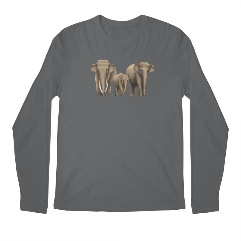 Troy Paulo - Asian Elephant Family Men's Longsleeve T-Shirt by Trunks & Leaves' Artist Shop