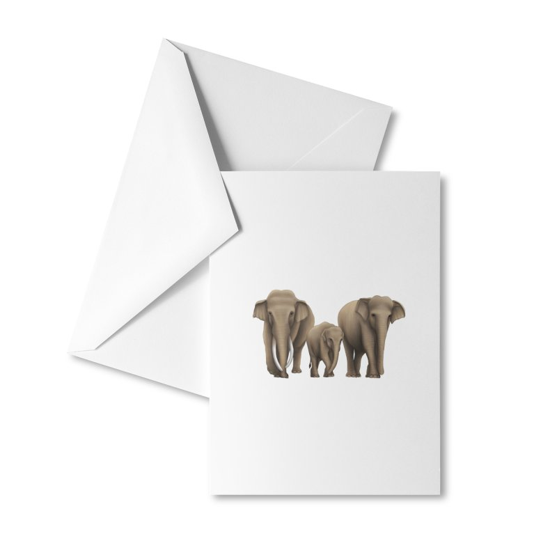 Troy Paulo - Asian Elephant Family Accessories Greeting Card by Trunks & Leaves' Artist Shop