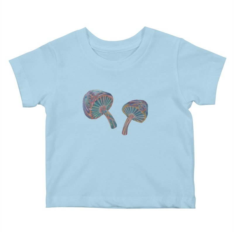 Rainbow Mushroom Kids Baby T-Shirt by Elevated Space
