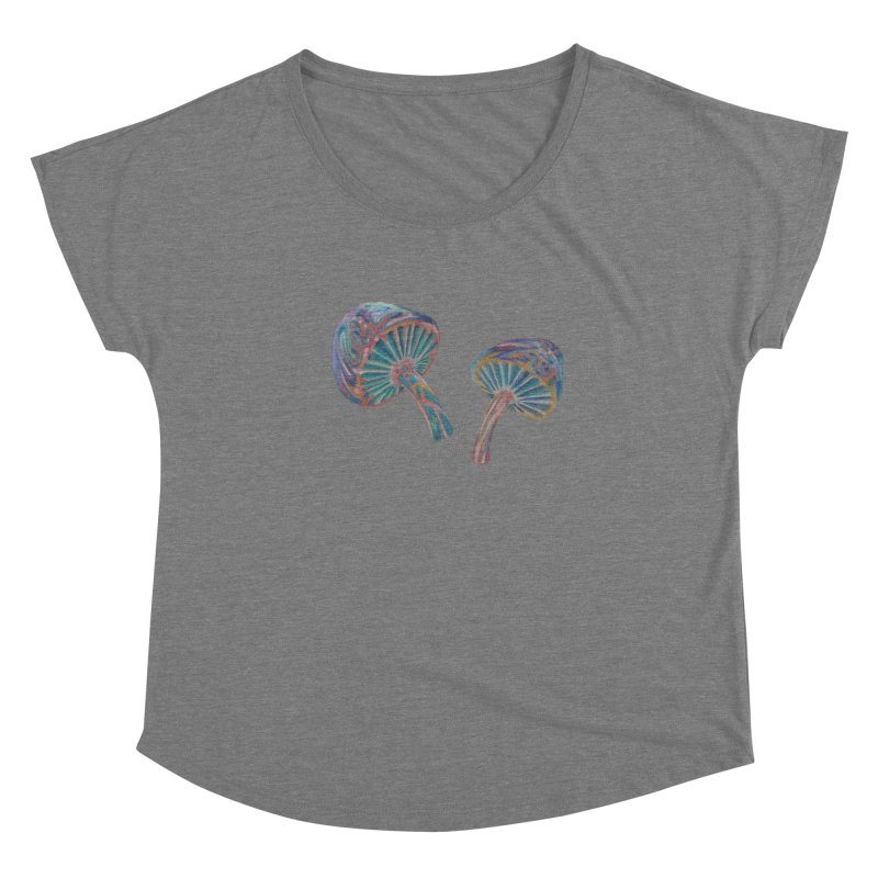 Rainbow Mushroom Women's Dolman Scoop Neck by Elevated Space