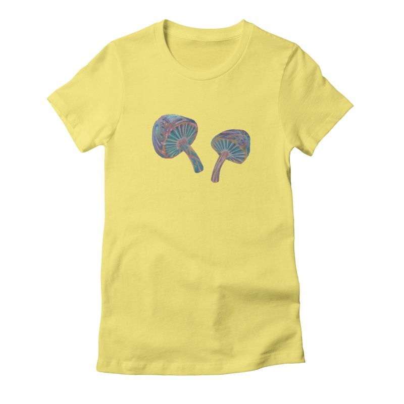 Rainbow Mushroom Women's Fitted T-Shirt by Elevated Space