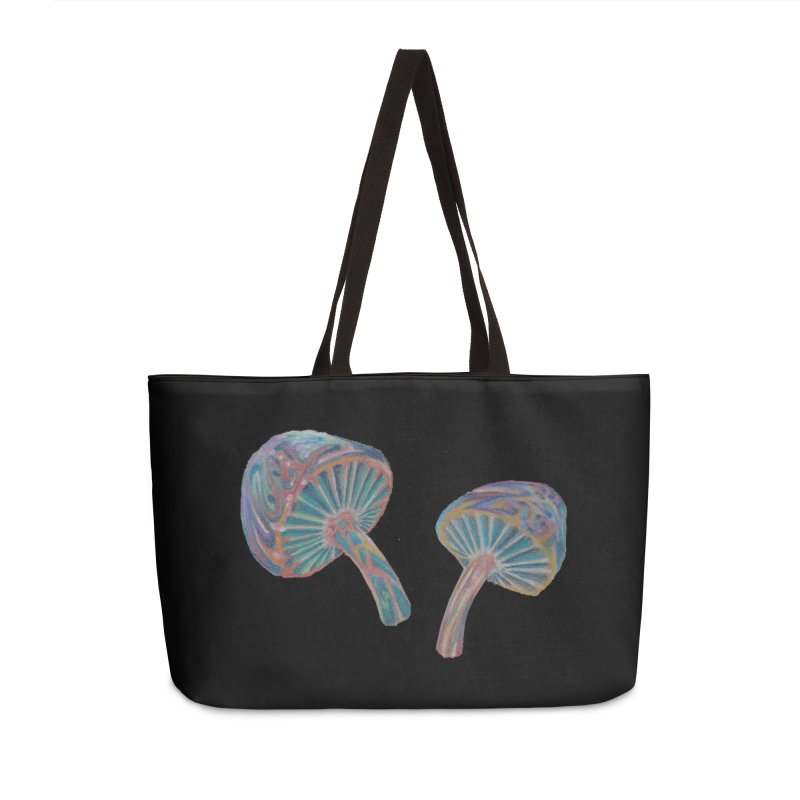 Rainbow Mushroom Accessories Weekender Bag Bag by Elevated Space