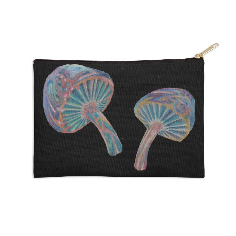 Rainbow Mushroom Accessories Zip Pouch by Elevated Space