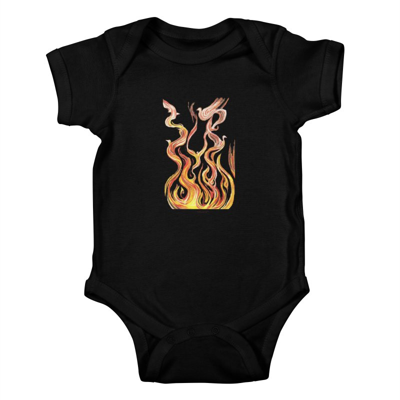 peace above the turmoil Kids Baby Bodysuit by Elevated Space