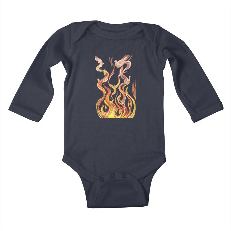 peace above the turmoil Kids Baby Longsleeve Bodysuit by Elevated Space