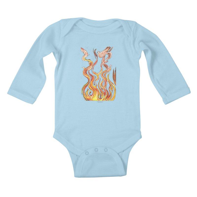 peace above the turmoil Kids Baby Longsleeve Bodysuit by Elevated Space