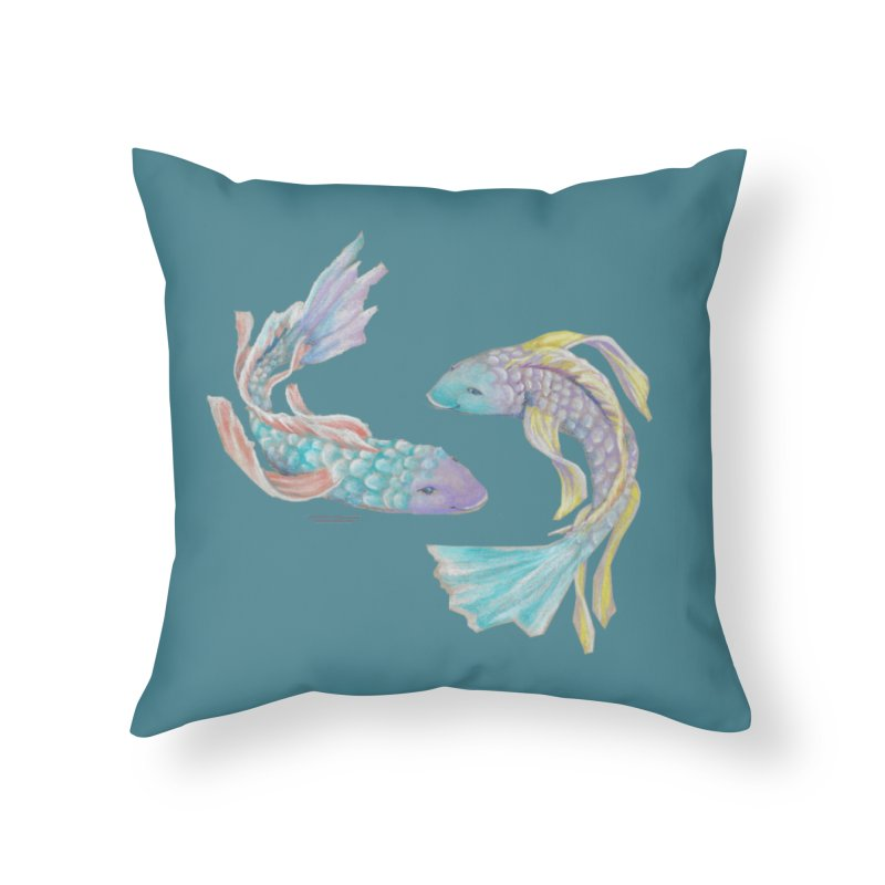 Koi Home Throw Pillow by Elevated Space