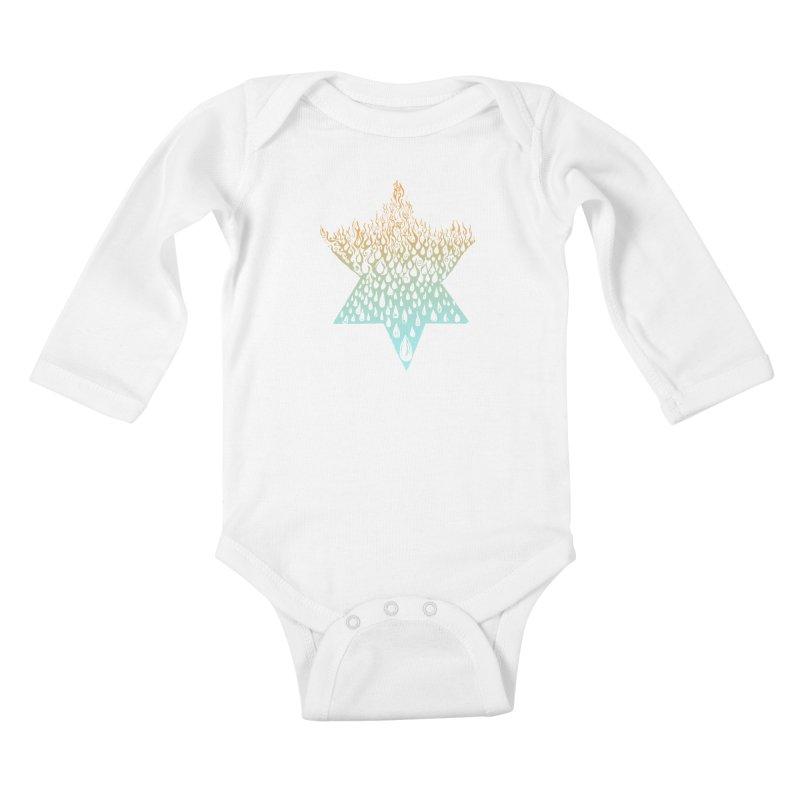 star of david tshirt Kids Baby Longsleeve Bodysuit by Elevated Space