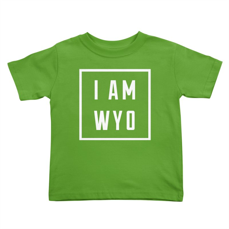 I AM WYO white letters box Kids Toddler T-Shirt by Elevation Wyoming