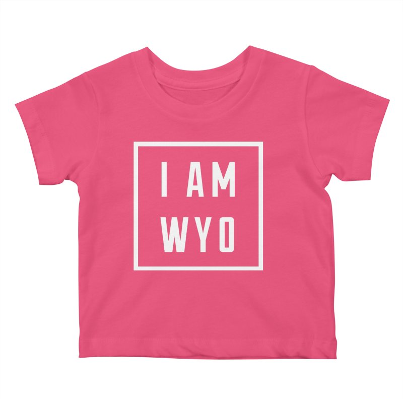 I AM WYO white letters box Kids Baby T-Shirt by Elevation Wyoming