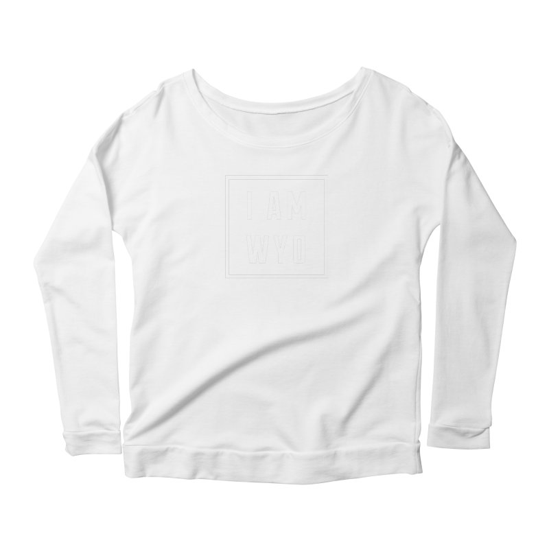 I AM WYO white letters box Women's Scoop Neck Longsleeve T-Shirt by Elevation Wyoming
