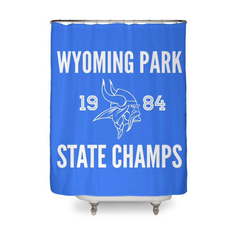 WP84 Champs white letters Home Shower Curtain by Elevation Wyoming