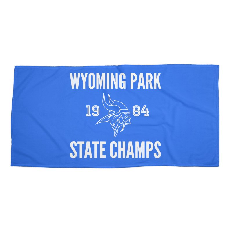 WP84 Champs white letters Accessories Beach Towel by Elevation Wyoming