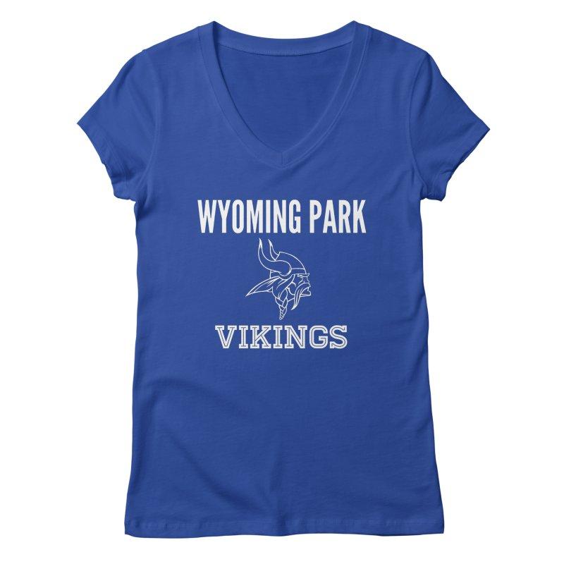 Wyoming Park Viking White Women's Regular V-Neck by Elevation Wyoming