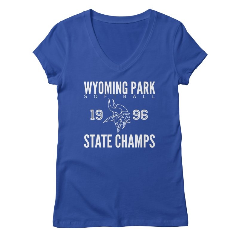 Wyoming Park 1996 Softball State Champs Women's Regular V-Neck by Elevation Wyoming