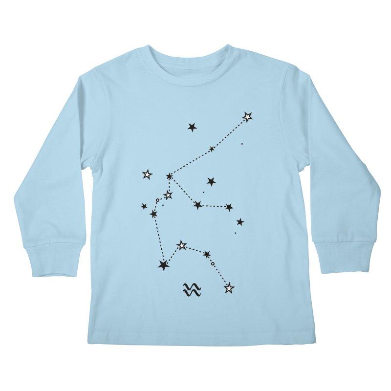 Aquarius Zodiac Sign Kids Longsleeve T-Shirt by eleventy-five's Shop