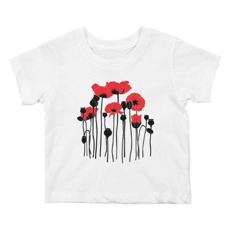 Red Poppies Kids Baby T-Shirt by eleventy-five's Shop