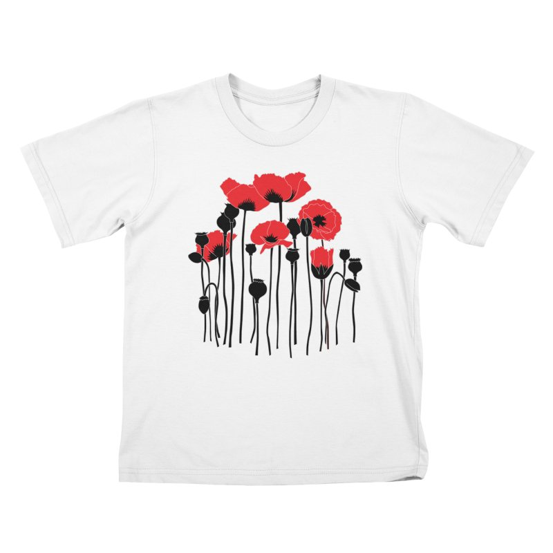 Red Poppies Kids T-Shirt by eleventy-five's Shop