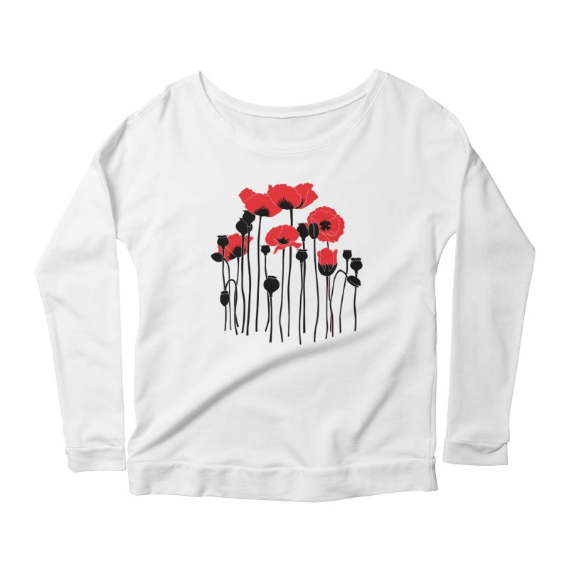 Red Poppies Women's Scoop Neck Longsleeve T-Shirt by eleventy-five's Shop