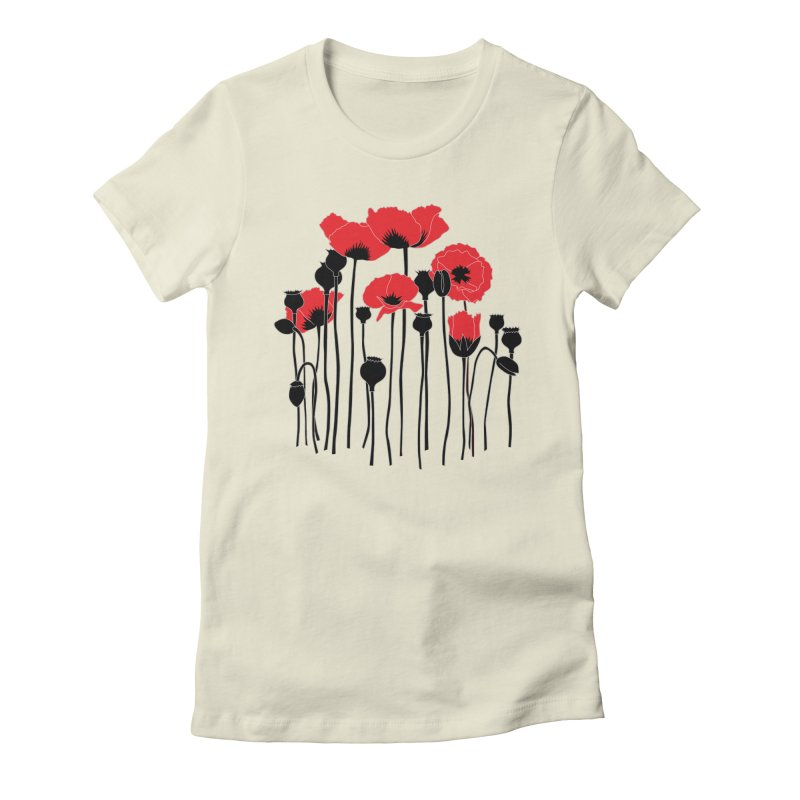 Red Poppies Women's Fitted T-Shirt by eleventy-five's Shop