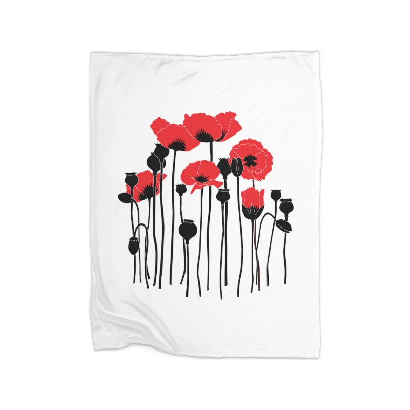 Red Poppies Home Fleece Blanket Blanket by eleventy-five's Shop