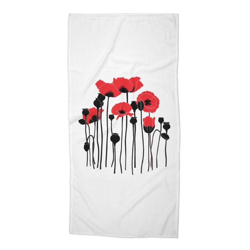 Red Poppies Accessories Beach Towel by eleventy-five's Shop