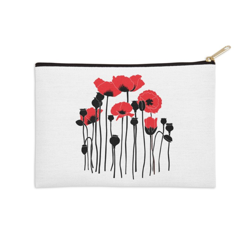 Red Poppies Accessories Zip Pouch by eleventy-five's Shop