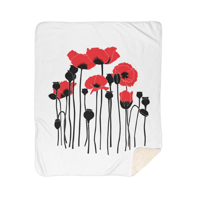 Red Poppies Home Sherpa Blanket Blanket by eleventy-five's Shop