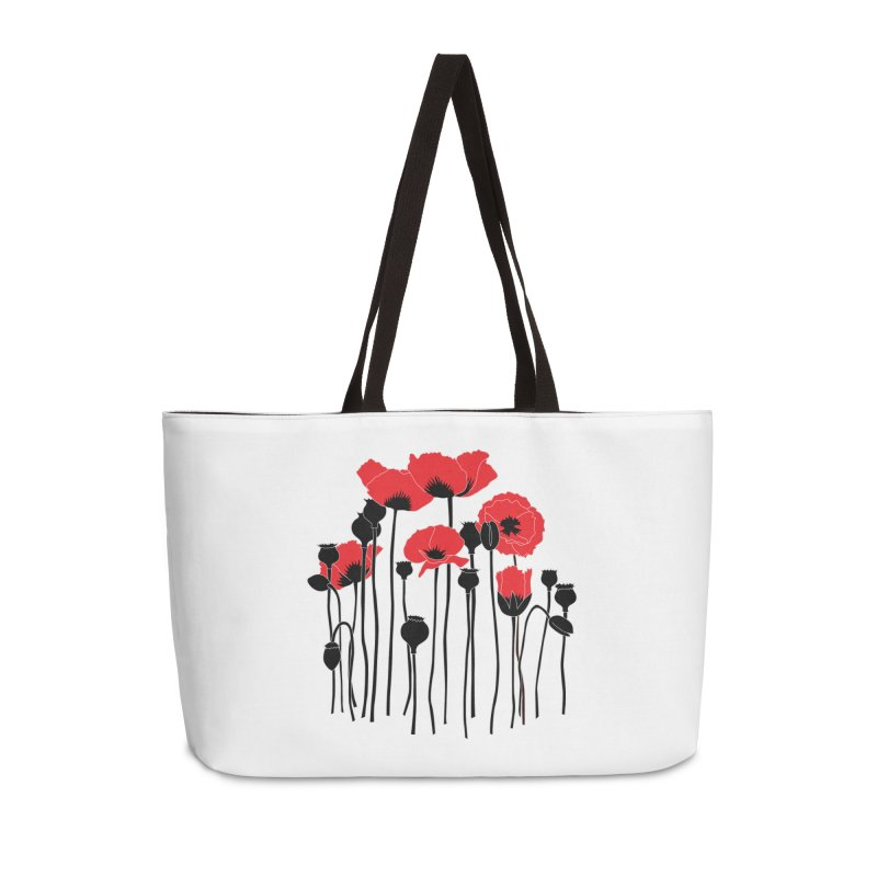 Red Poppies Accessories Weekender Bag Bag by eleventy-five's Shop