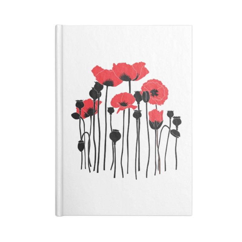Red Poppies Accessories Lined Journal Notebook by eleventy-five's Shop