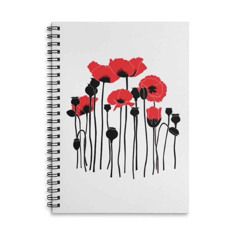 Red Poppies Accessories Lined Spiral Notebook by eleventy-five's Shop
