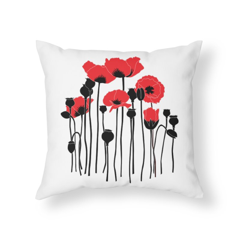 Red Poppies Home Throw Pillow by eleventy-five's Shop