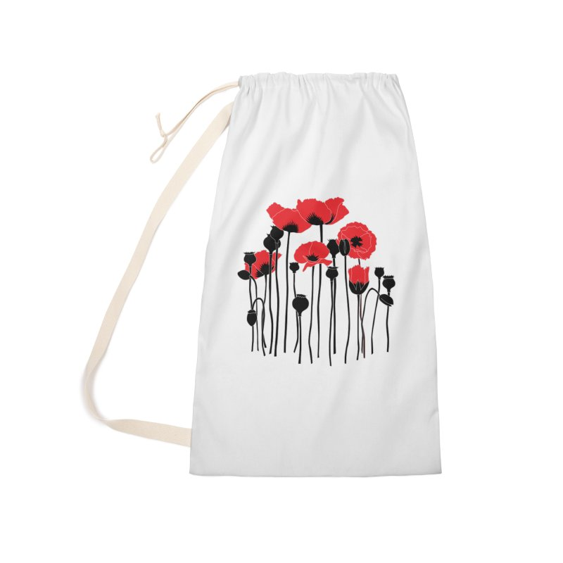 Red Poppies Accessories Laundry Bag Bag by eleventy-five's Shop