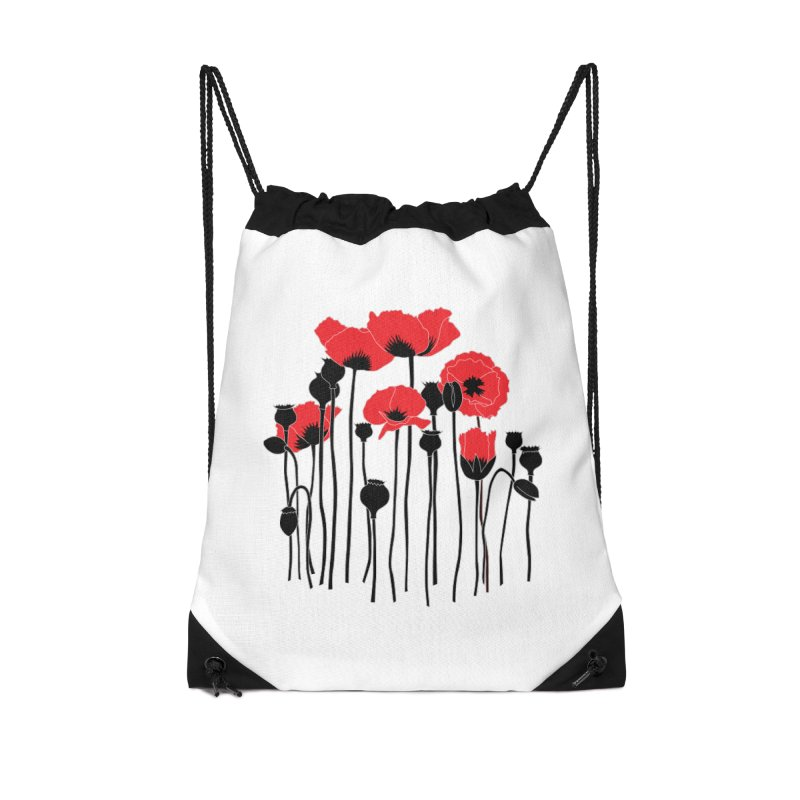 Red Poppies Accessories Drawstring Bag Bag by eleventy-five's Shop