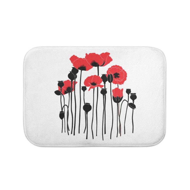Red Poppies Home Bath Mat by eleventy-five's Shop