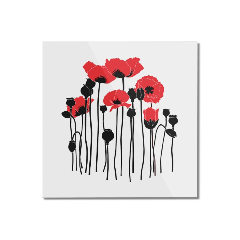 Red Poppies Home Mounted Acrylic Print by eleventy-five's Shop