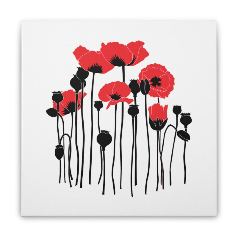 Red Poppies Home Stretched Canvas by eleventy-five's Shop