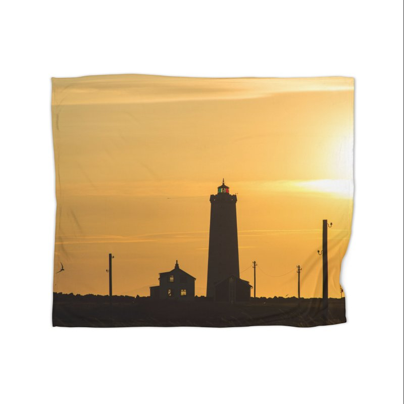 Yellow Sunset Home Fleece Blanket Blanket by ElfaFrid's Shop
