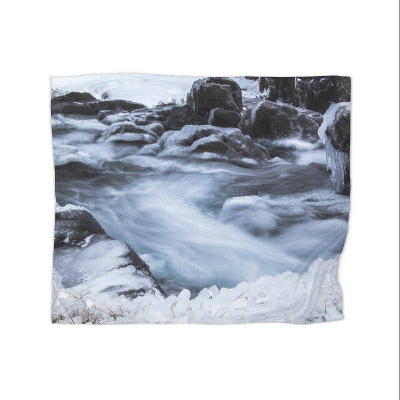 Frosty Lake Home Fleece Blanket Blanket by ElfaFrid's Shop