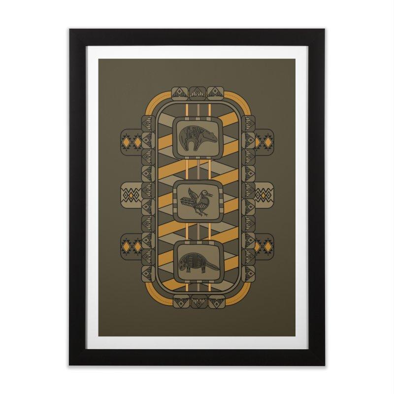 Animal Glyphs Chest Plate Home Framed Fine Art Print by eligodesign's Artist Shop