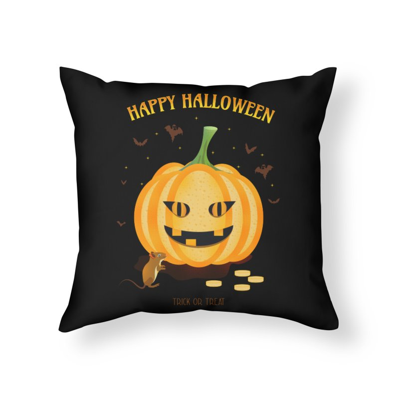 Trick or Treat Home Throw Pillow by eligodesign's Artist Shop