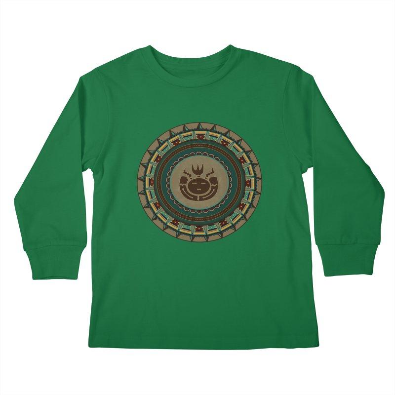 Tribal Face Glyph Kids Longsleeve T-Shirt by eligodesign's Artist Shop