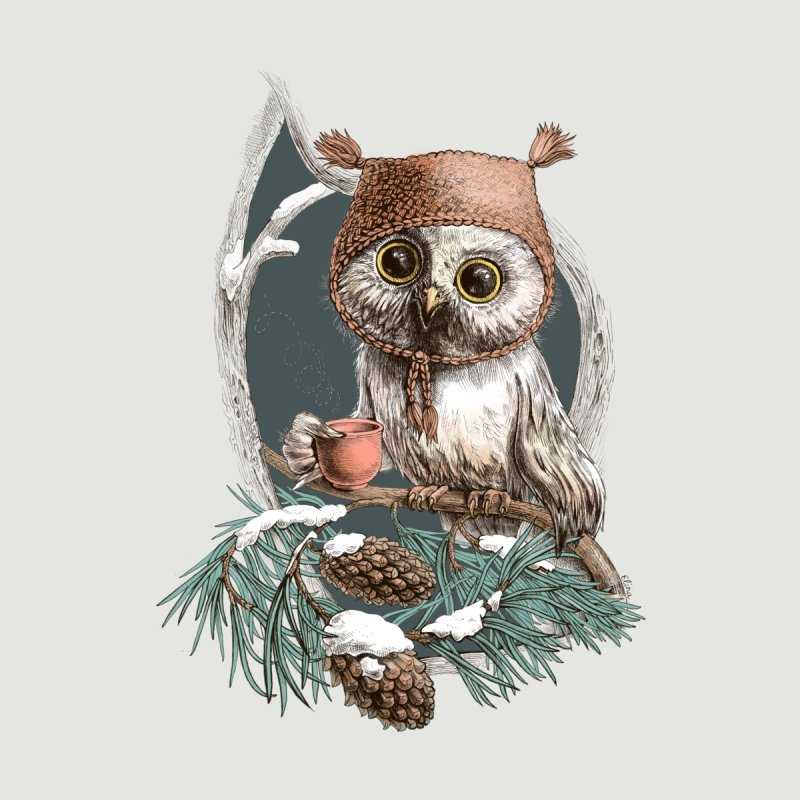 Winter owl in a cute hat Kids Toddler Pullover Hoody by elinakious's Artist Shop