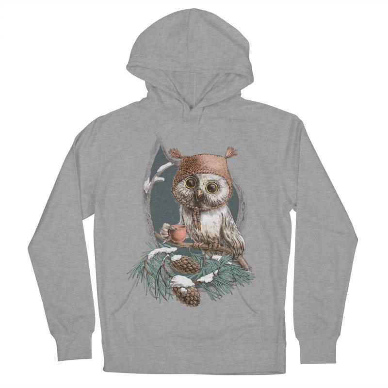 Winter owl in a cute hat Women's Pullover Hoody by elinakious's Artist Shop