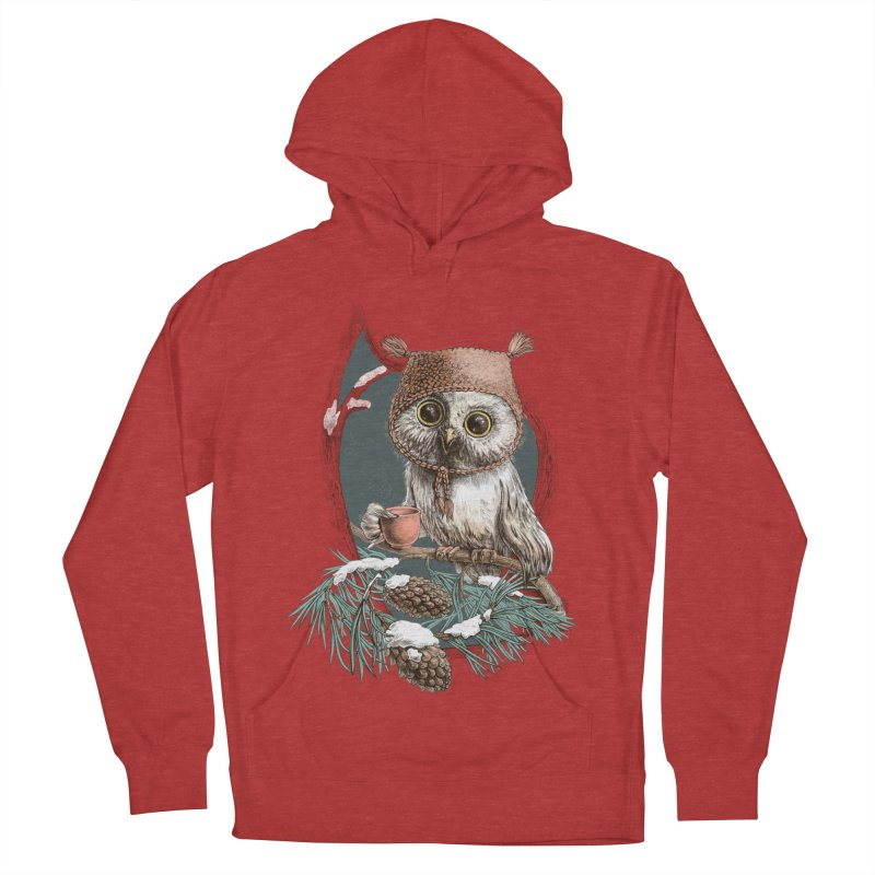 Winter owl in a cute hat Men's Pullover Hoody by elinakious's Artist Shop
