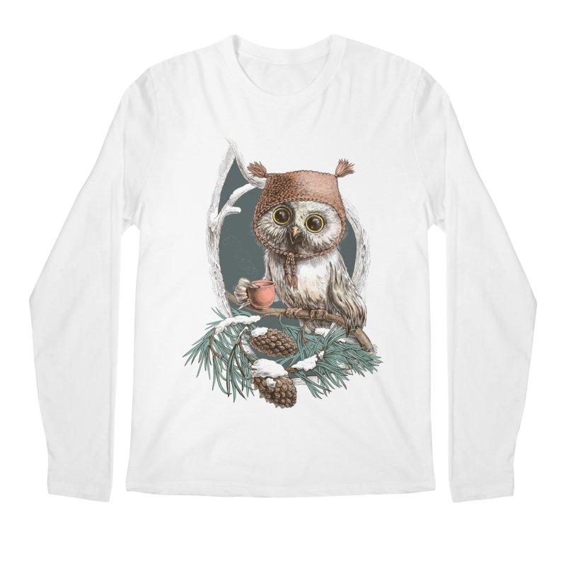 Winter owl in a cute hat Men's Longsleeve T-Shirt by elinakious's Artist Shop